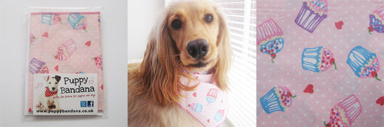 cupcake heaven dog bandana in pink