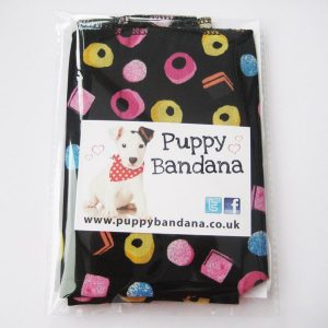Black Liquorice Allsorts Dog Bandana Packaged