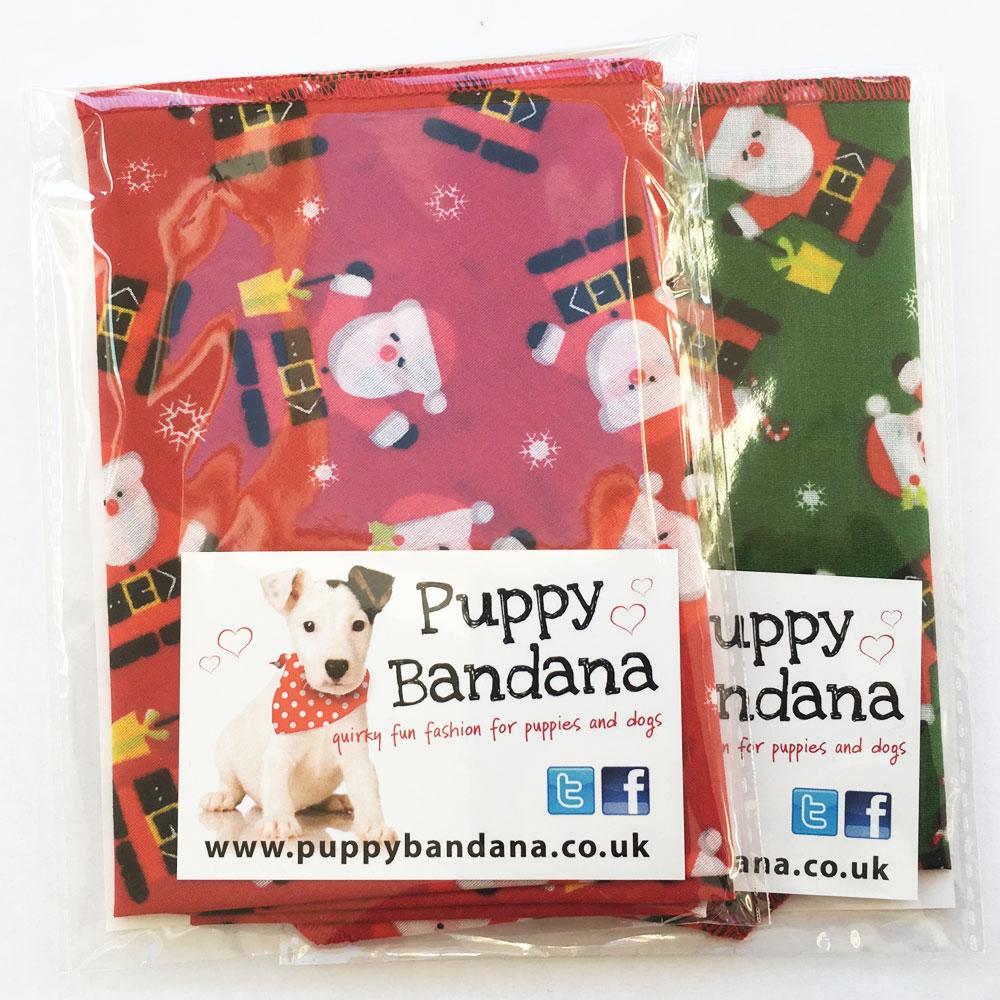 Red / Green Santa Claus Dog Bandana from Puppy Bandana