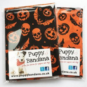 Halloween Pumpkins and Bats Dog Bandana Twin Pack from Puppy Bandana