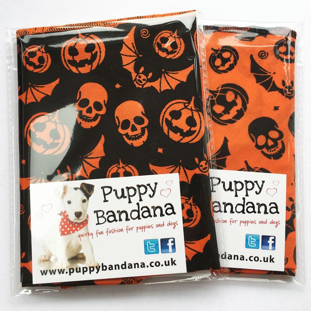 Halloween Pumpkins and Bats Dog Bandana Twin Pack from Puppy Bandana