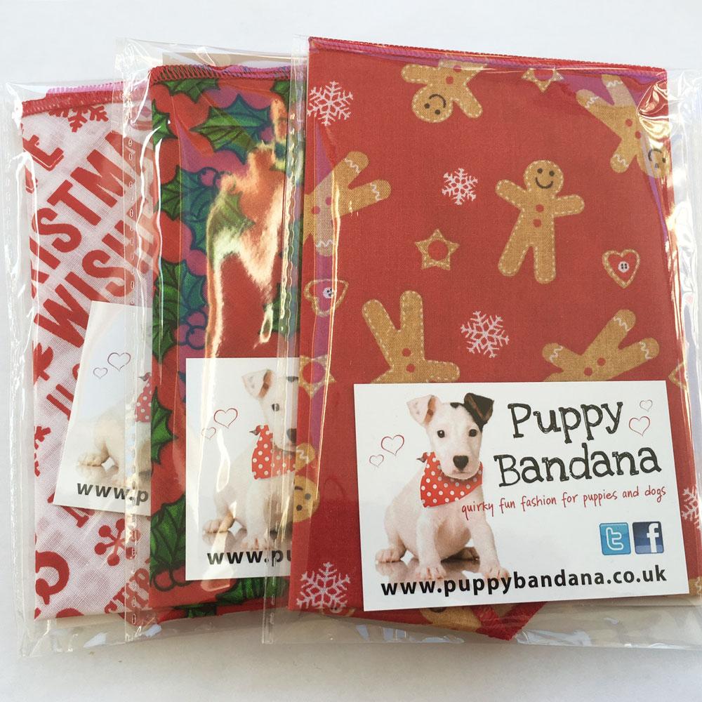 3 pack of christmas treat dog bandanas from Puppy Bandana