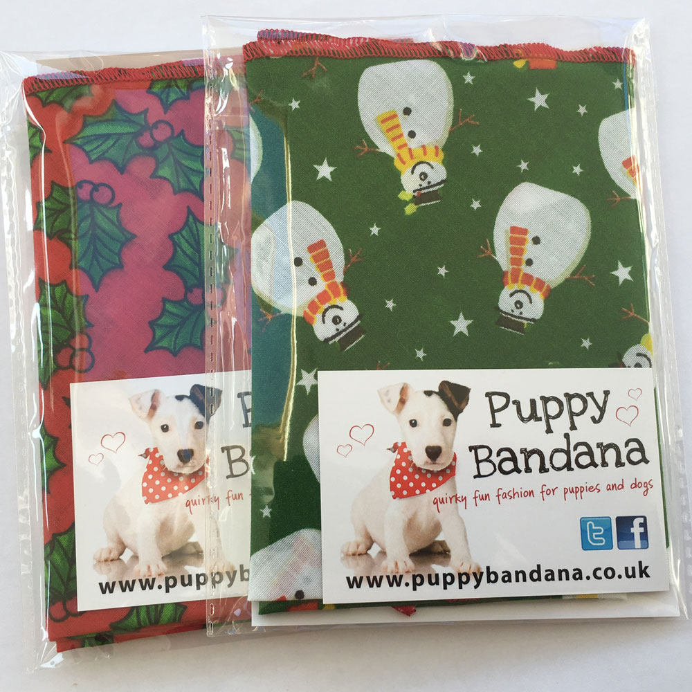 Smiley Snowman and Red Holly Dog Bandana Twin Pack from Puppy Bandana